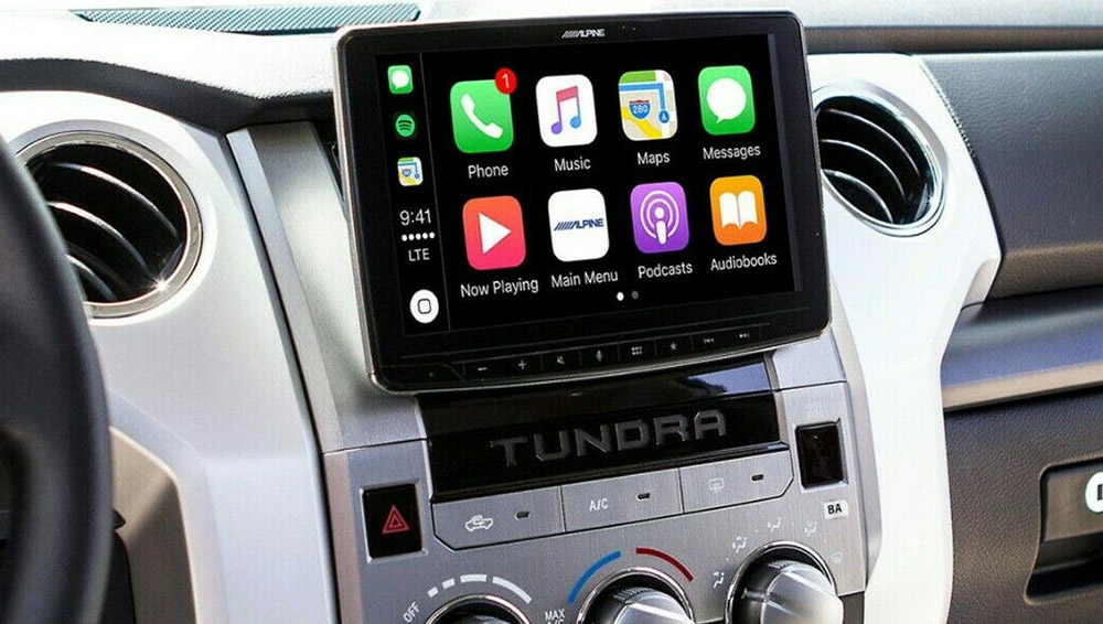 Head units with floating screens are a sleek solution.