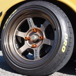 15-inch Volk racing wheel wrapped with Toyo Proxes tires