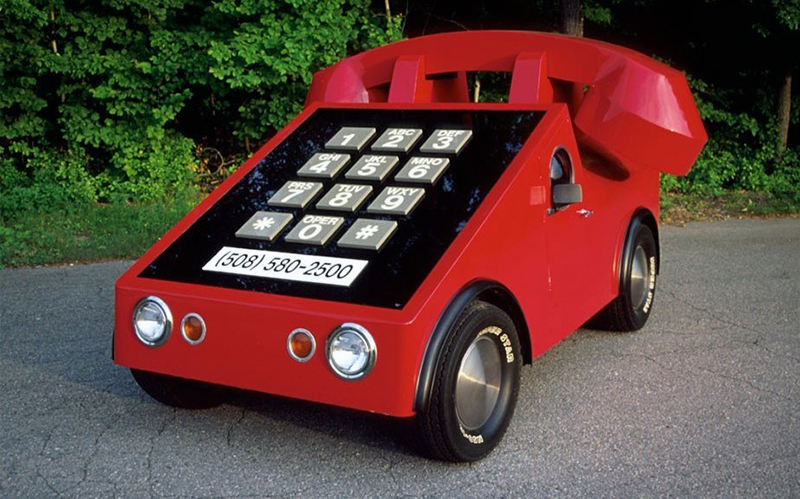 A 1975 Volkswagen Beetle was turned into a push-button phone-car.