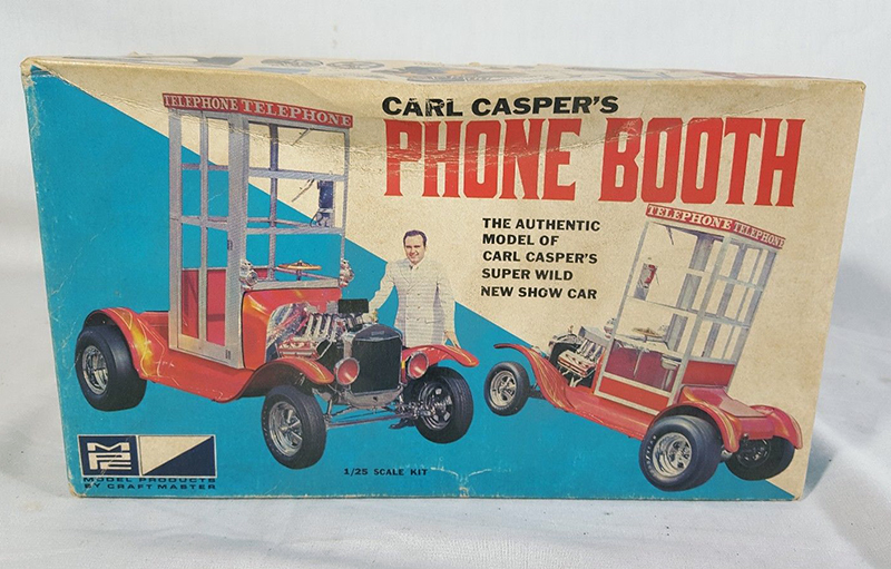 This rare vintage boxed kit to build Carl Casper's Phone-Booth car is available on eBay.