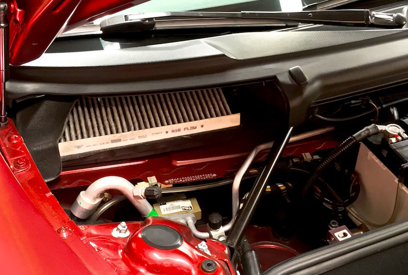 This activated carbon-charcoal filter is accessed from the engine cowl.