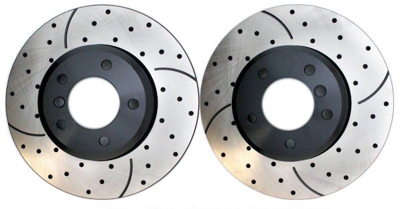 Slotted or drilled brake rotors also enhance stopping power while adding a good look.