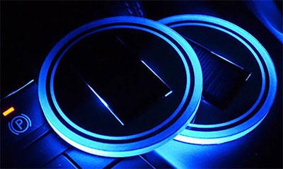 Solar-powered cupholder lights