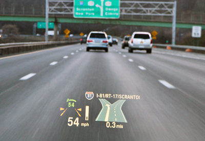 Navigation instructions are helpful and less distracting when presented in a heads-up display.