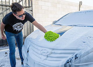 A Microfiber mitt will clean your car without scratching the finish.