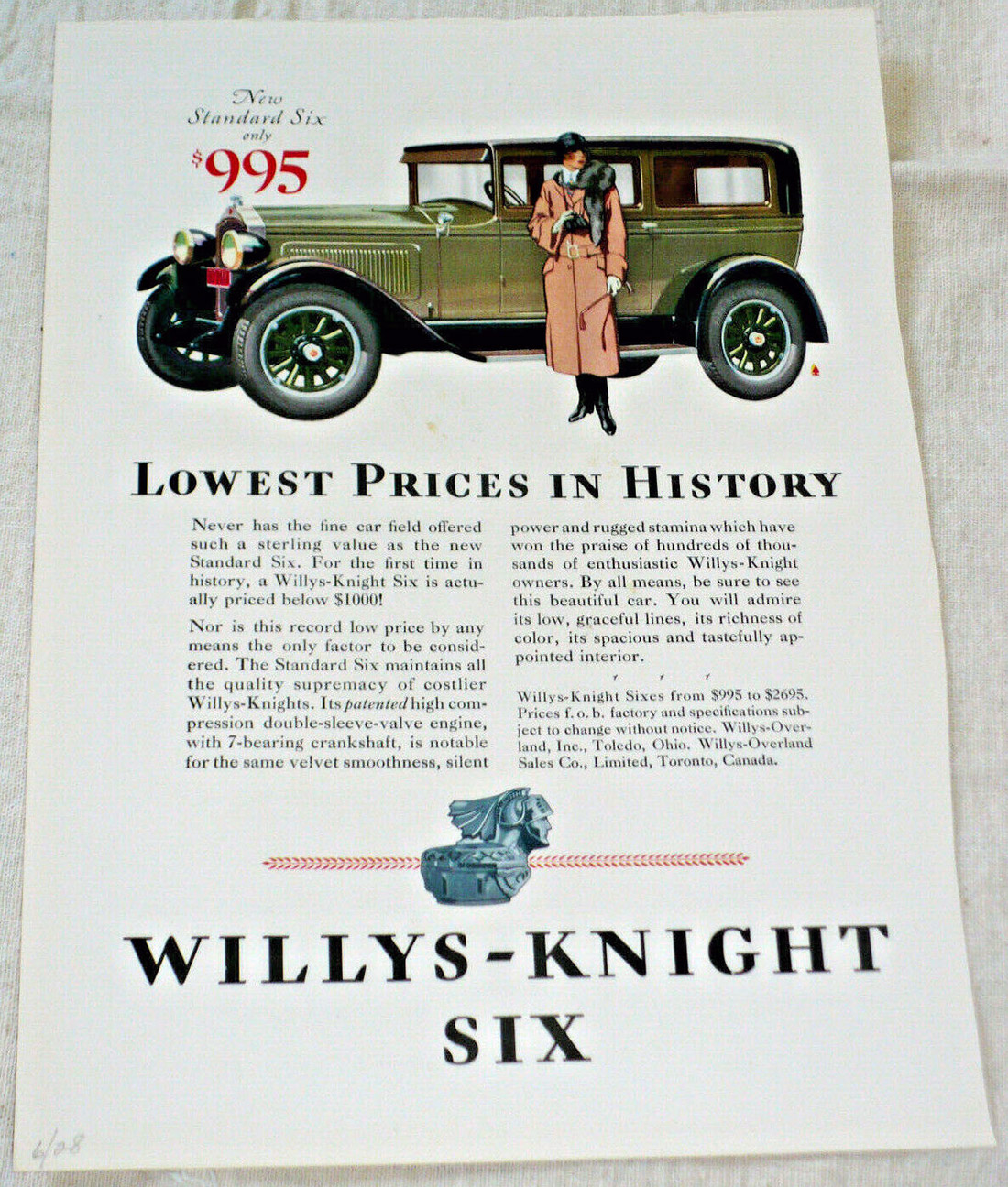 1928 WILLYS-KNIGHT 6 Car Ad